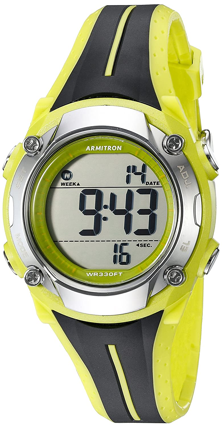 Armitron Sport Women s 45 7063LGN Digital Chronograph Black and Lime Green Resin Strap Watch