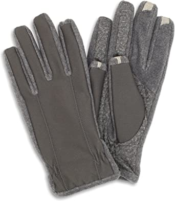 Black Isotoner Mens Smartouch Tech Stretch Gloves Large