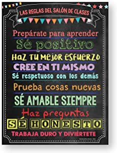 Spanish Classroom Decorations- Classroom Rules Poster Laminated (Spanish Posters for Classrooms)18x24 Spanish Decor -1 Poster Included