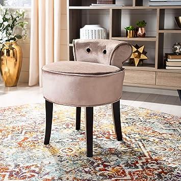 Swell Safavieh Mercer Collection Georgia Vanity Stool Mink Brown Machost Co Dining Chair Design Ideas Machostcouk