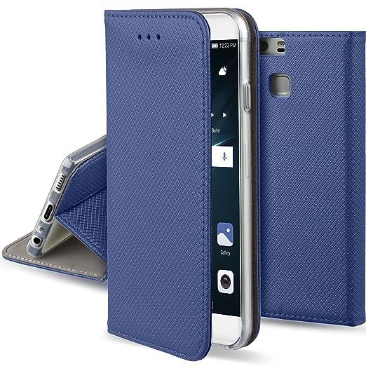 20 opinioni per Cover Huawei P9 Blu scuro- Custodia a libro Flip Smart magnetica de Moozy® con