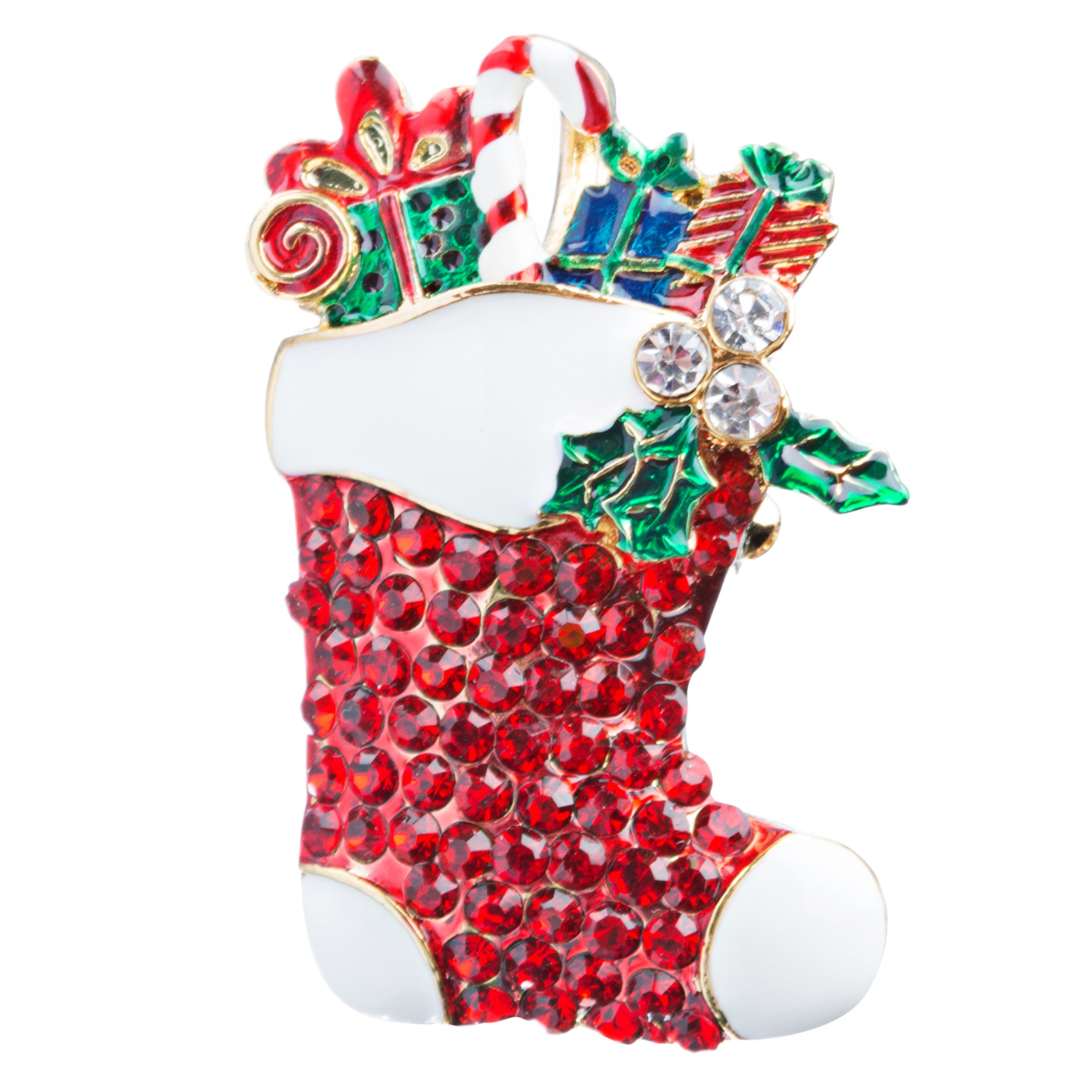 ACCESSORIESFOREVER Christmas Jewelry Crystal Rhinestone Sparkle Stocking Presents Brooch Pin BH116