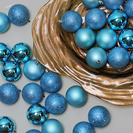 60ct turquoise blue shatterproof 4 finish christmas ball ornaments 25