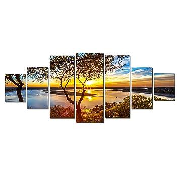 startonight glow in the dark huge canvas wall art sunrise on the lake home