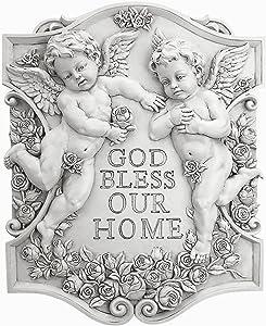 Design Toscano God Bless Our Home Cherubs Wall Sculpture, Gold