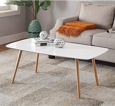 Amazon Com White Finish Mid Century Modern Coffee Table
