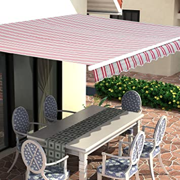 Diensweek Stripes Patio Awning Retractable Manual Commercial Grade Quality 100 Acrylic Sunshade Deck