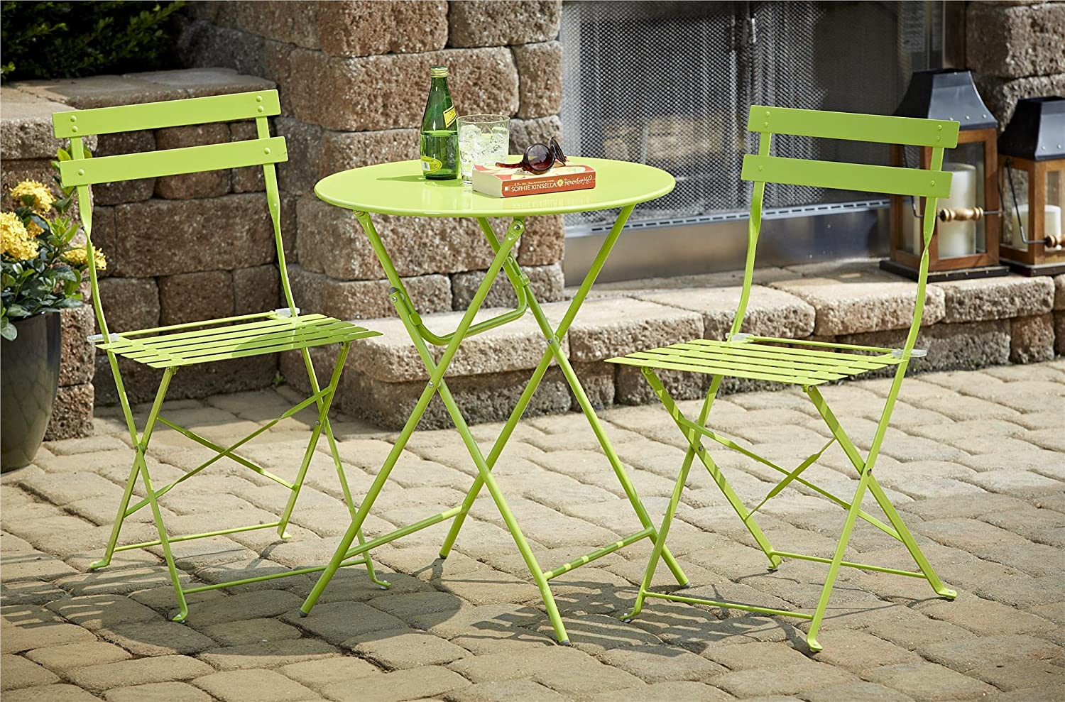 amazoncom cosco piece folding bistrostyle patio table and  - amazoncom cosco piece folding bistrostyle patio table and chairs setbright green kitchen  dining