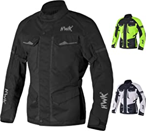 Adventure/Touring Motorcycle Jacket For Men Textile Motorbike CE Armored Waterproof Jackets ADV 4-Season (Black, S)