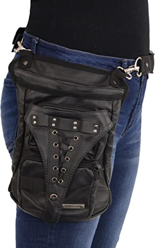 Milwaukee Leather MP8885 Black Carry Leather Thigh Bag with Waist Belt