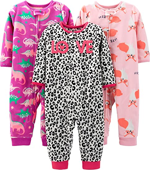 Rainbow 6-9 Months Dinosaur Simple Joys by Carters Baby Girls 3-Pack Snug Fit Footless Cotton Pajamas Space