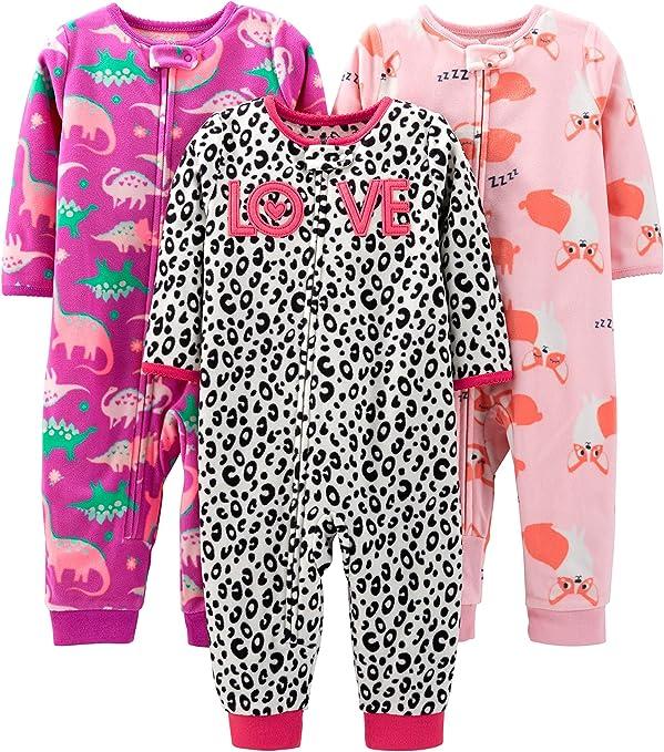 Lot de 3 Simple Joys by Carters 3-Pack Loose Fit Flame Resistant Fleece Footed Pajamas B/éb/é gar/çon