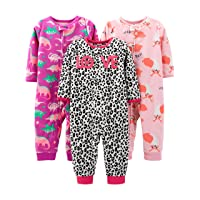 Baby and Toddler Girls' 3-Pack Loose Fit Fleece Footless Pajamas