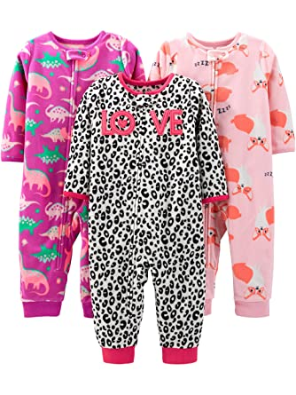 9c0e47659c791 Amazon.com: Simple Joys by Carter's Baby and Toddler Girls' 3-Pack Loose  Fit Fleece Footless Pajamas: Clothing