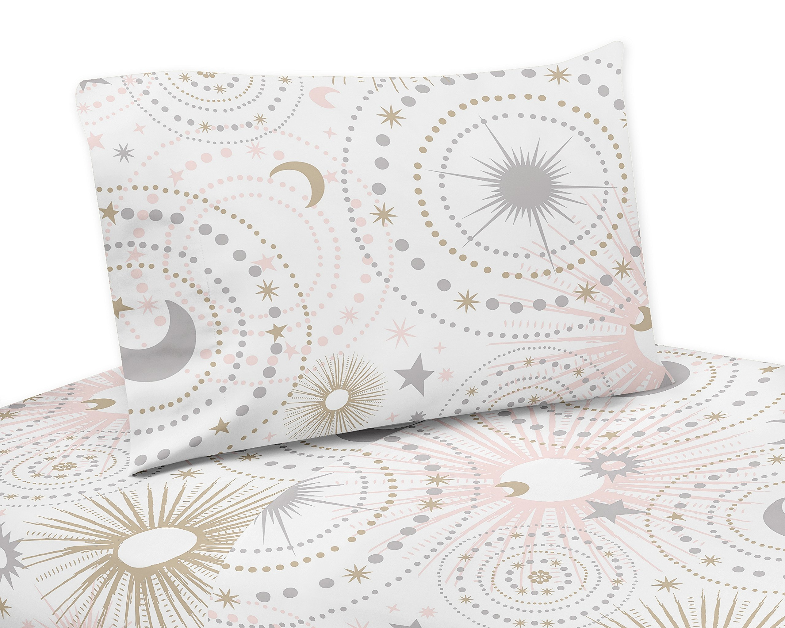 Sweet Jojo Designs 4-Piece Blush Pink, Gold, Grey and White Star and Moon Queen Sheet Set for Celestial Collection set