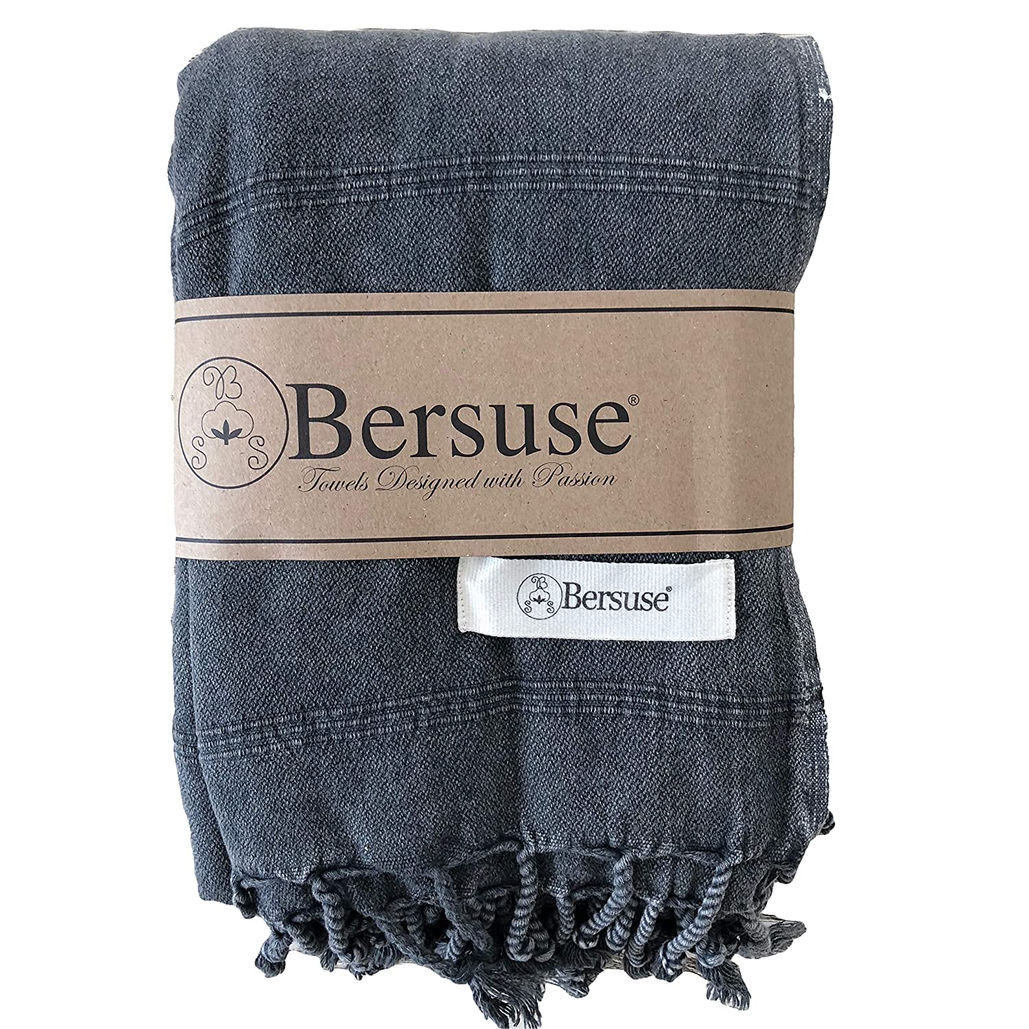 Bersuse 100% Cotton - Troy Extra Large (XL) Throw Blanket Turkish Towel - Bath Beach Fouta Peshtemal - Bed, Couch Throw, Table Cover, Picnic Mat - Stonewashed Handloom Weave - 60X82 Inches, Black