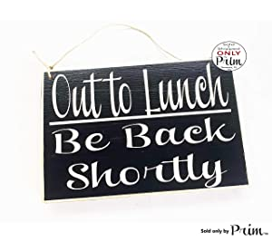 8x6 Out to Lunch Be Back Shortly (Choose Color) Dining Break Room Food Kitchen Office Work Custom Wood Spa Sign