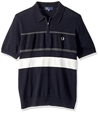 beecf0362 Amazon.com  Fred Perry Men s Textured Zip Nk Knitted Shirt  Clothing