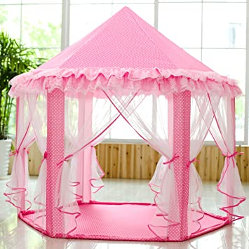 SkyeyArc Princess Playhouse With Lace Pink Tent Princess Castle Play Tent Castle Playhouse & Amazon.com: SkyeyArc Princess Playhouse With Lace Pink Tent ...