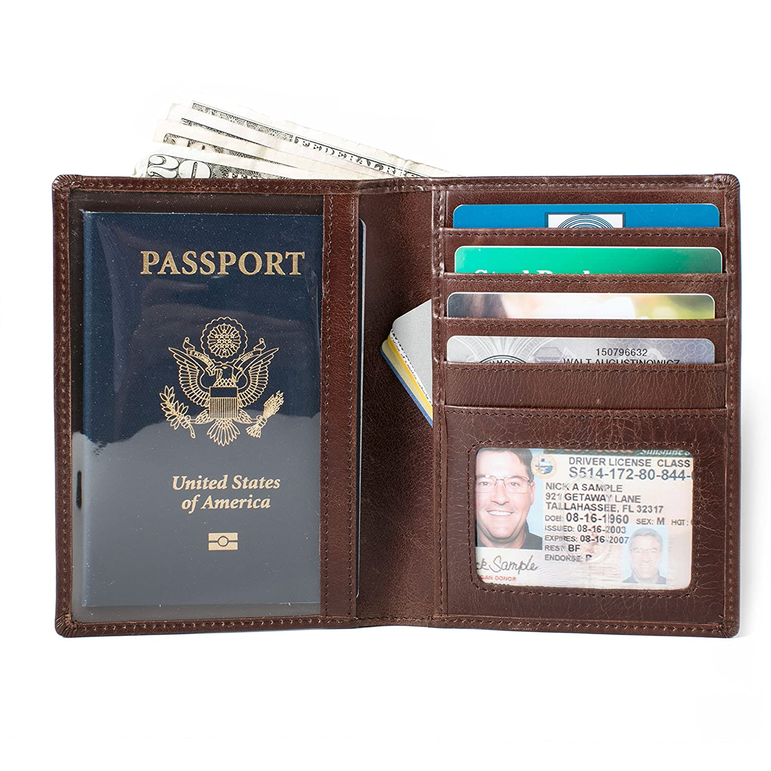 Rugged Leather Passport Wallet RFID Passport Stonewashed Finish Protective Wallets for Men and Women Brown IDSH7223