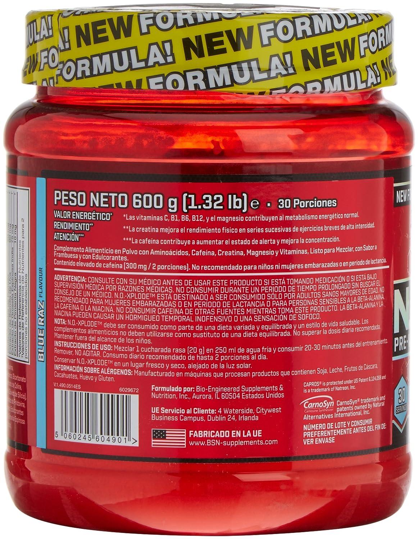 BSN No Xplode Pre-Entreno Frambuesa - 600 g: Amazon.es: Salud y cuidado personal