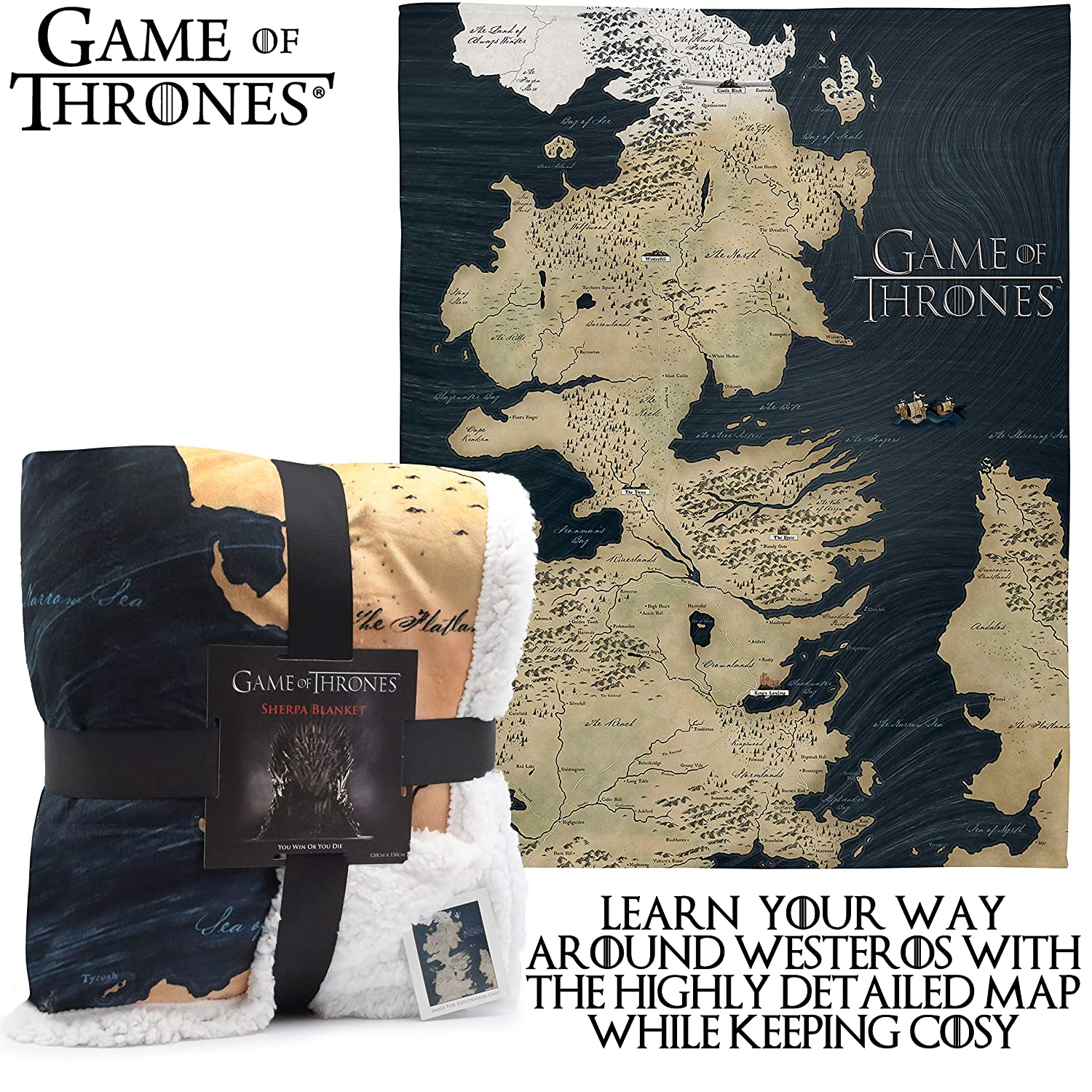 Game of Thrones Gifts Map of Westeros Sherpa Blanket GOT Merchandise Super Soft Throw Blanket Reversible Throw With White Fluffy Fleece And Large Westeros Map Design