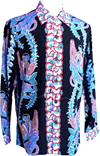 product image for Paradise Found Kamehameha Mens Lei Lady Long Sleeve Shirt Black S