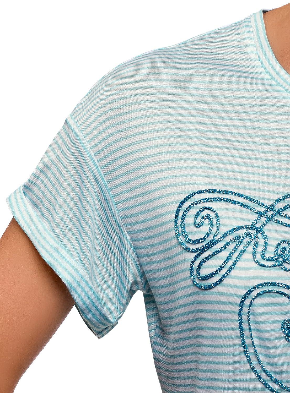 oodji Ultra Mujer Camiseta a Rayas con Inscripci/ón de L/úrex