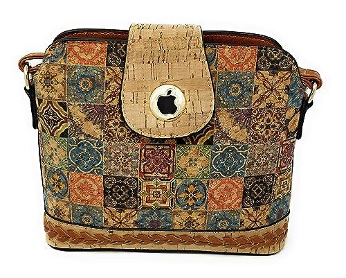 Bolso para mujer en corcho natural, uso en hombro o bandolera. De moda original para diario fiesta viaje.