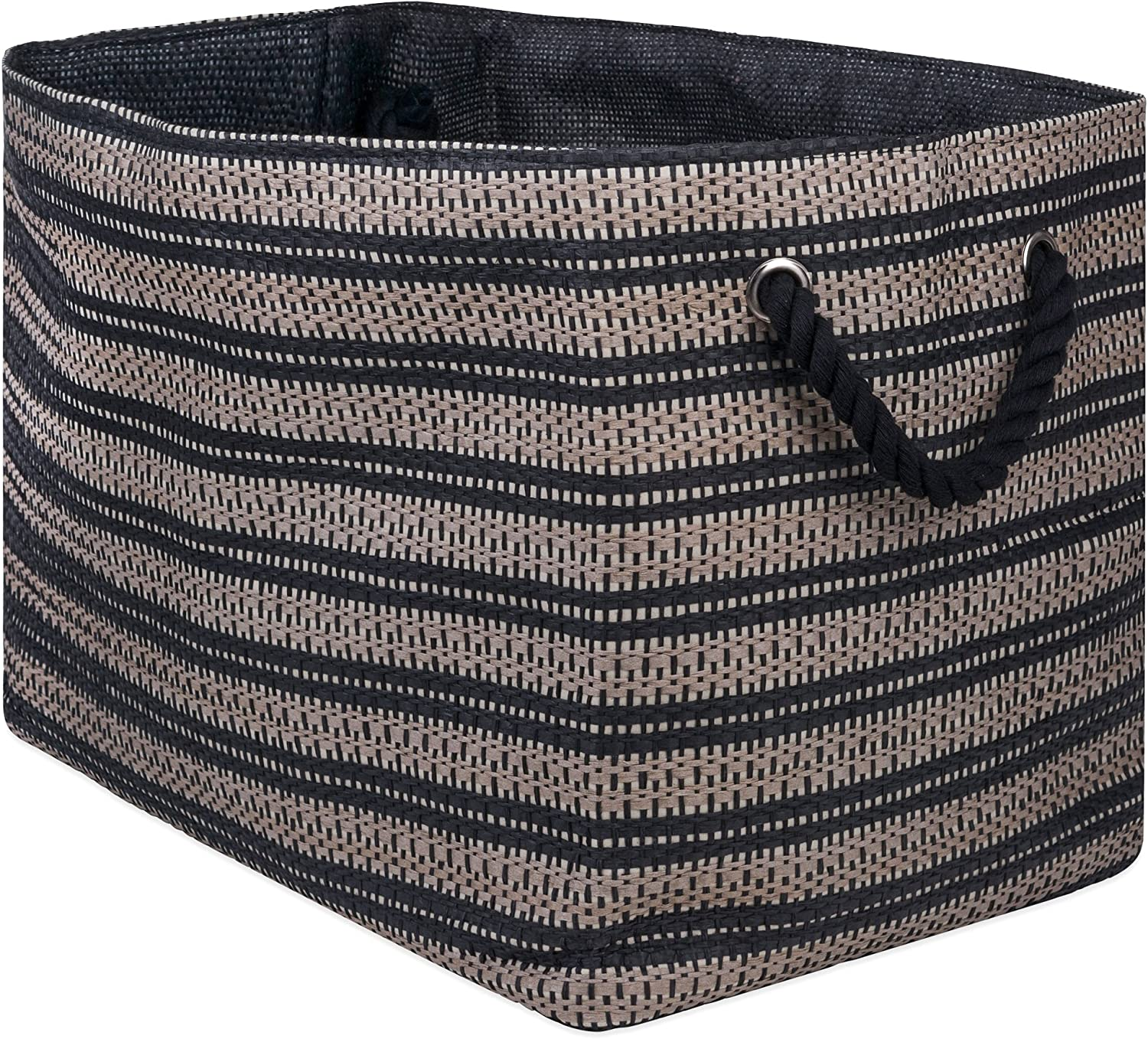 DII Basketweave Woven Paper Laundry & Storage Bin, Large Rectangle, Stone & Black
