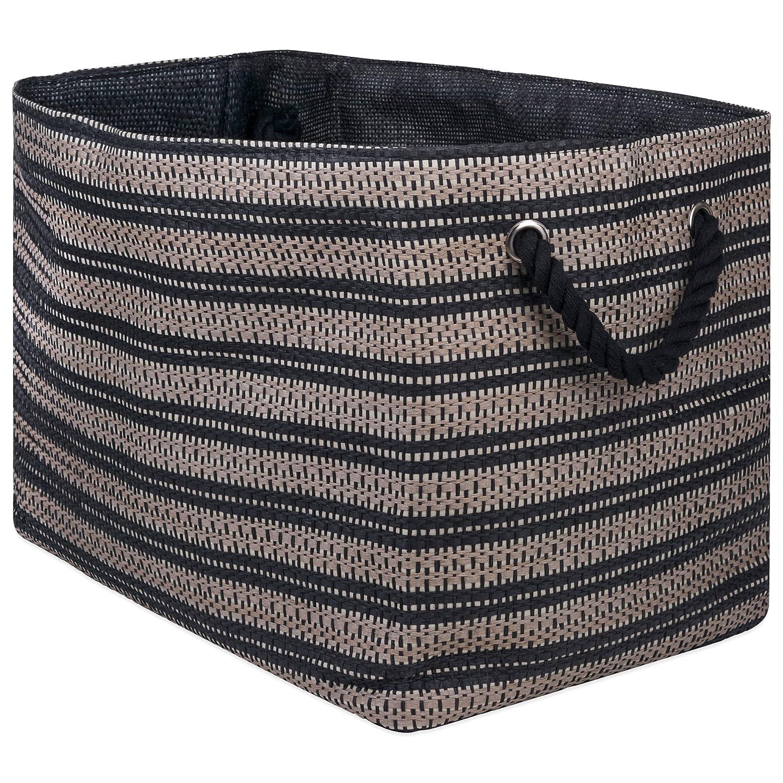 "DII Oversize Woven Paper Storage Basket Or Bin(Medium - 15x10x12""), Black & White CAMZ10096"