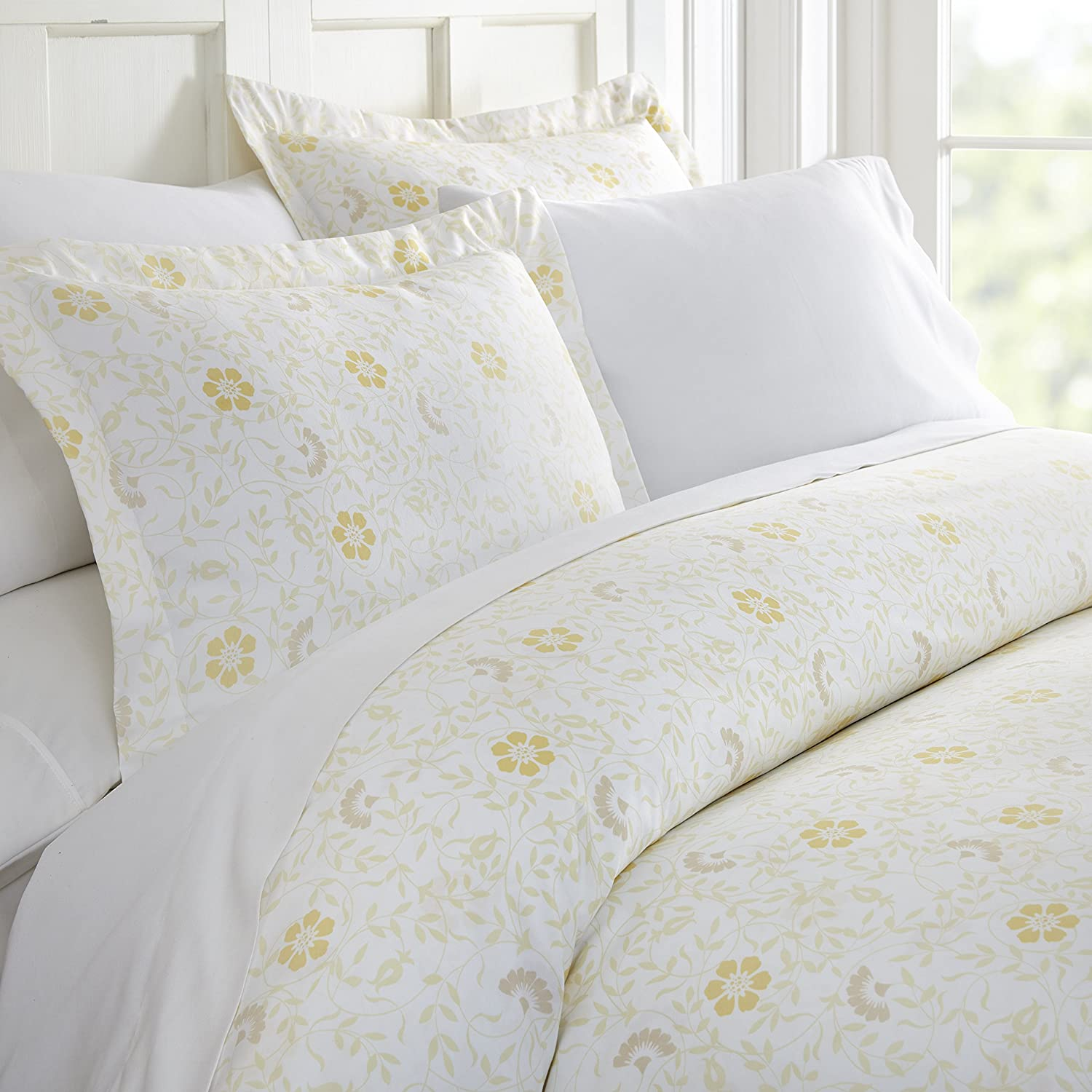 ienjoy Home 3 Piece Spring Vines Patterned Home Collection Premium Ultra Soft Duvet Cover Set, King, White