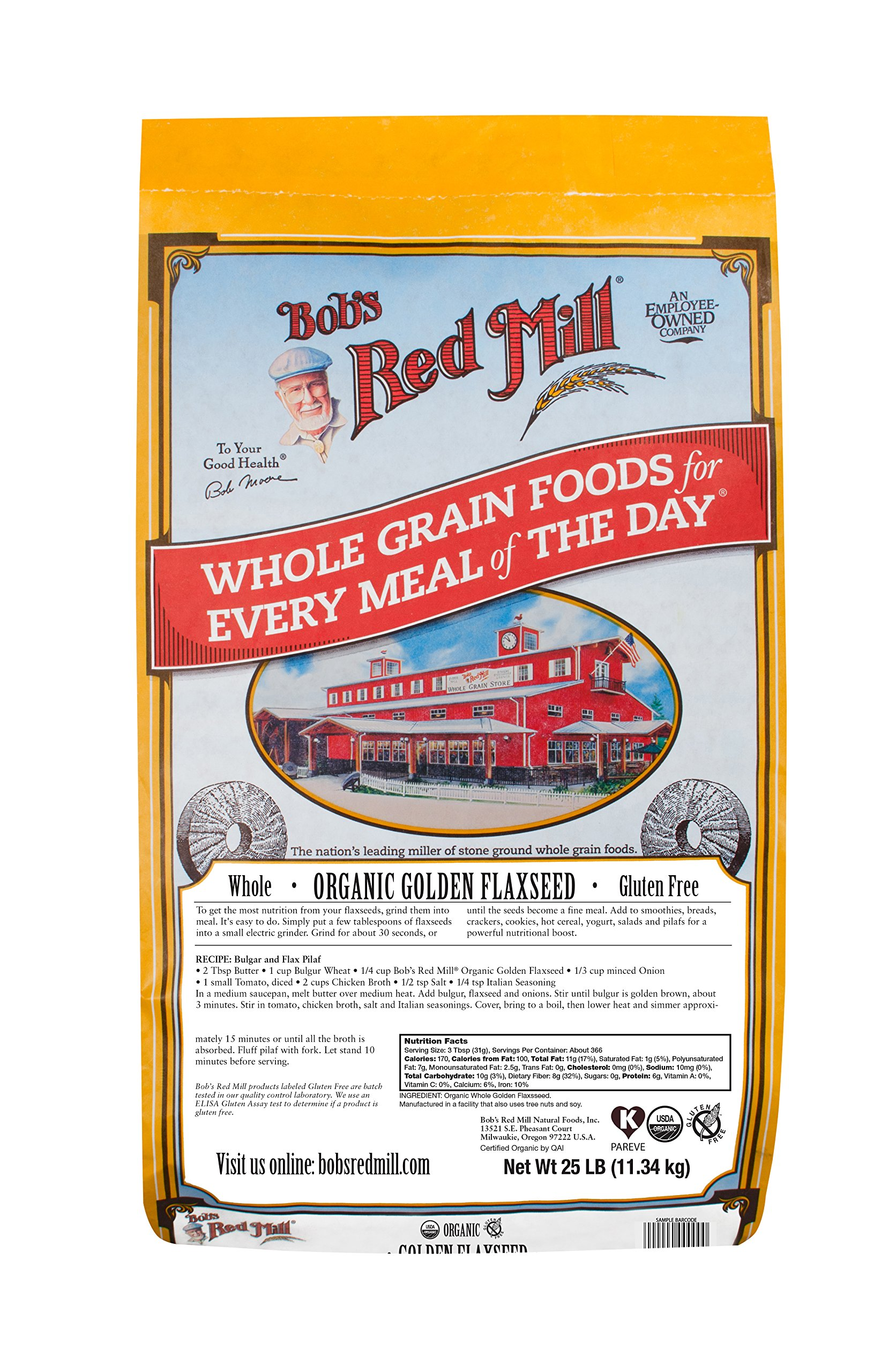 Bob's Red Mill Organic Raw Whole Golden Flaxseeds, 25 Pound
