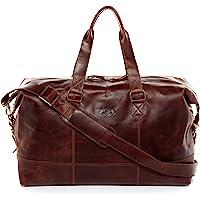 SID & VAIN Weekender Leder Yale groß Sporttasche Unisex 35l Reisetasche echte Ledertasche Damen Herren 50 cm
