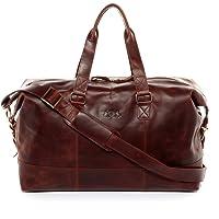SID & VAIN® Weekender YALE - Unisex Reisetasche groß Ledertasche - Sporttasche im Vintage-Look Damen Herren echt Natur-Leder