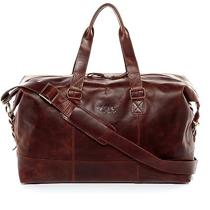 piuttosto fico nuovi prodotti per molti alla moda SID & VAIN® borsa da viaggio vera pelle vintage YALE grande borsa da  weekend 35 l borsa da sport uomo donna cuoio marrone