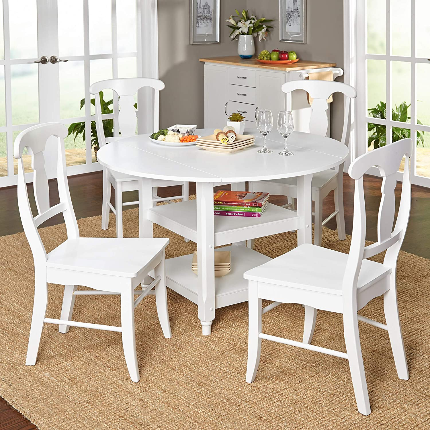 Target Marketing Systems Cottage Contemporary Extendable Dining Room Set with Shelves Underneath, 5 Piece, White