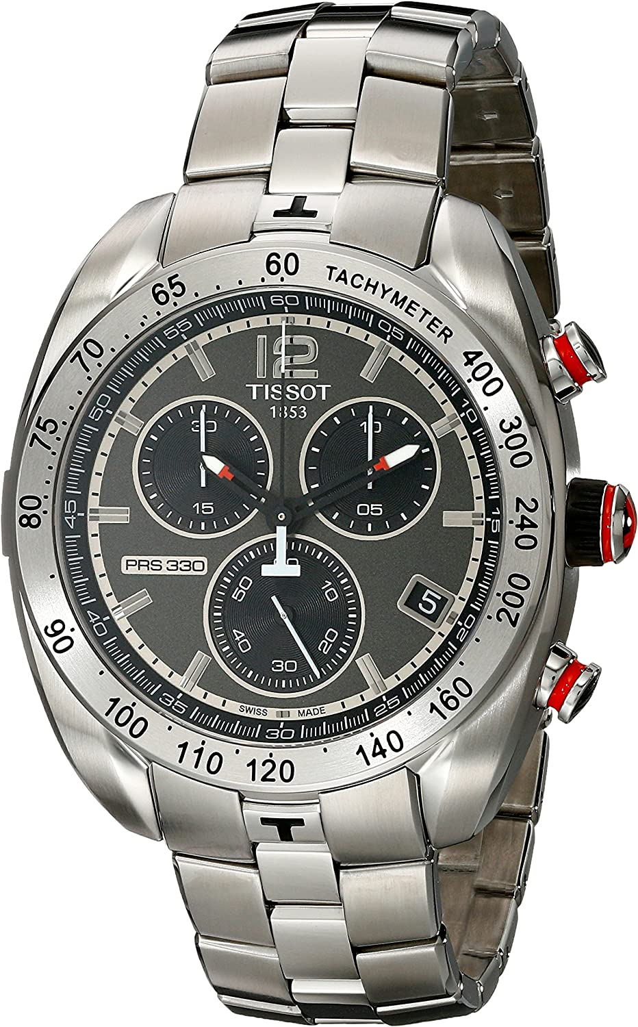 Tissot Men s PRS 330 Anthracite Dial Stainless Steel Chronograph Watch T076.417.11.067.00