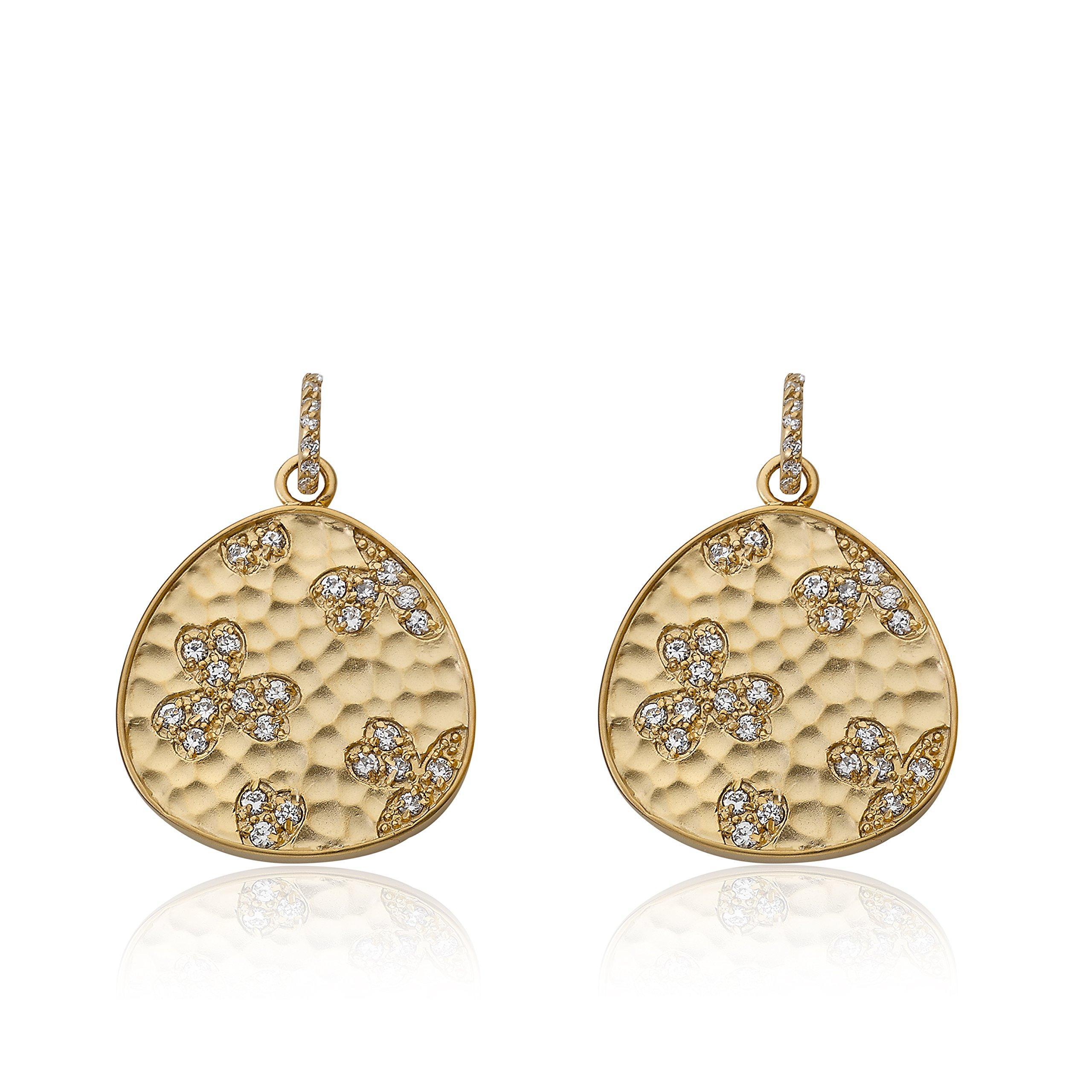 Riccova Retro Satin Hammered 14k Gold-Plated Cubic Zirconia Leaf Design In Teardrop Dangle Earring