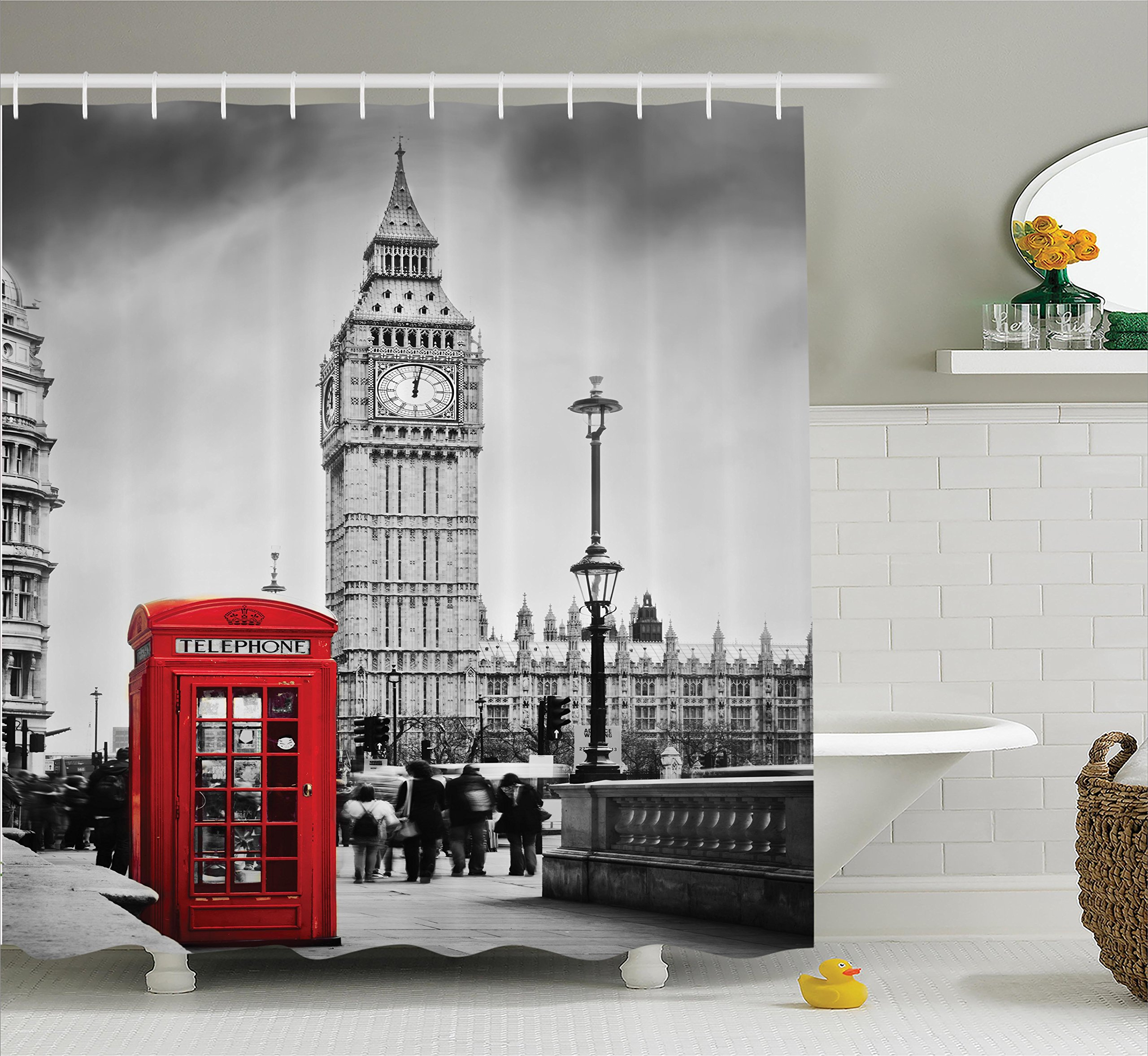 Ambesonne London Shower Curtain, Famous Telephone Booth and The Big Ben in England Street View Symbols of Town Retro, Fabric Bathroom Decor Set with Hooks, 75 inches Long, Red Grey