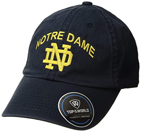 b03aa9143abdf Amazon.com   Top of the World NCAA Notre Dame Fighting Irish Men s  Adjustable Relaxed Fit Team Arch Hat