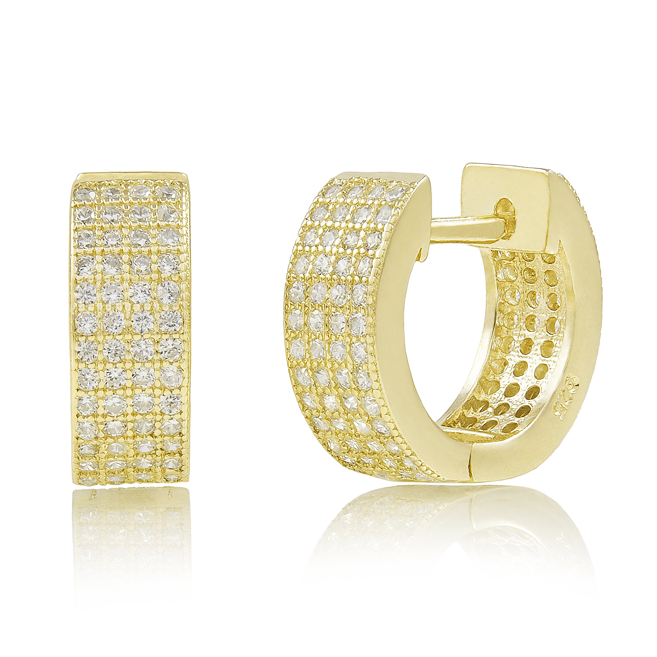 Yellow Gold Plated Sterling Silver Pave Cubic Zirconia Huggie Hoop Earrings