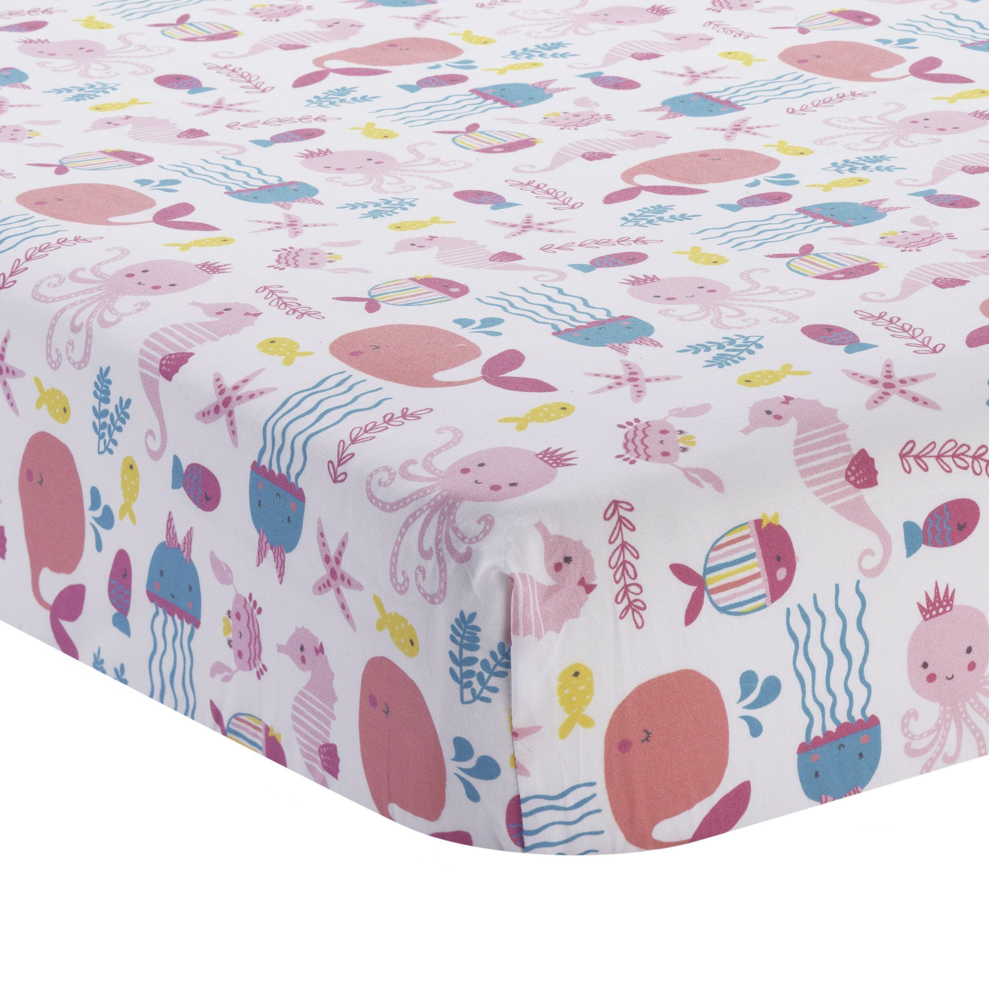 Bedtime Originals Sugar Reed Aquatic Fitted Crib Sheet, Pink/Blue