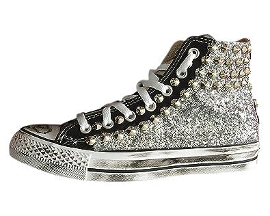 2e4ac74d35 Converse All Star con tessuto glitter argento, zebrato e borchie 166:  Amazon.it: Scarpe e borse
