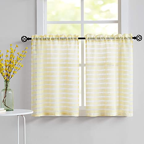 White And Yellow Striped Sheer Curtains 36 Inches For Travel Trailer Kitchen Basement Linen Texture Windows Tiers 28 W X36 L 2 Panels Rod Pocket Amazon Ca Home