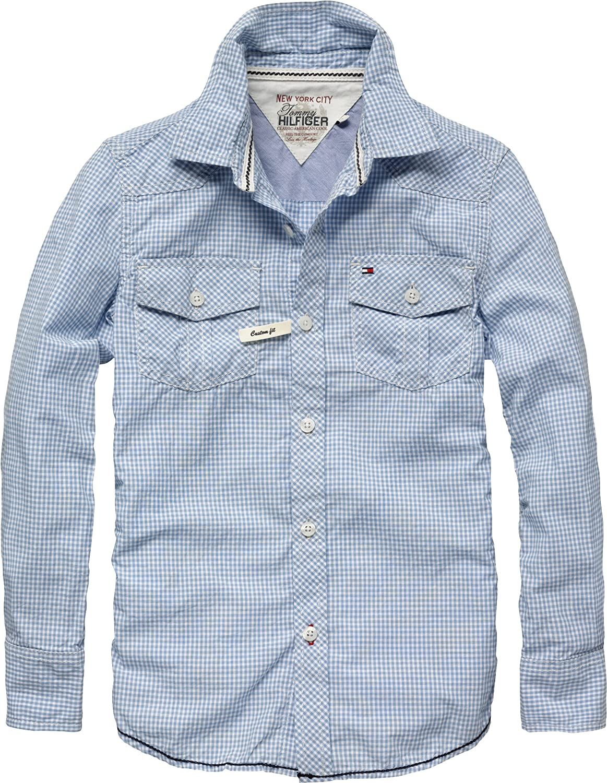 Tommy Hilfiger - Camisa - con Botones - para niño Azul Azul Vista 10 años: Amazon.es: Ropa y accesorios