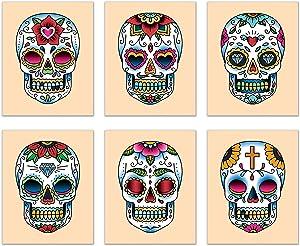 Summit Designs Sugar Skulls Calavera Wall Decor Art Prints - Set of 6 (8x10) Poster Photos - Day of The Dead