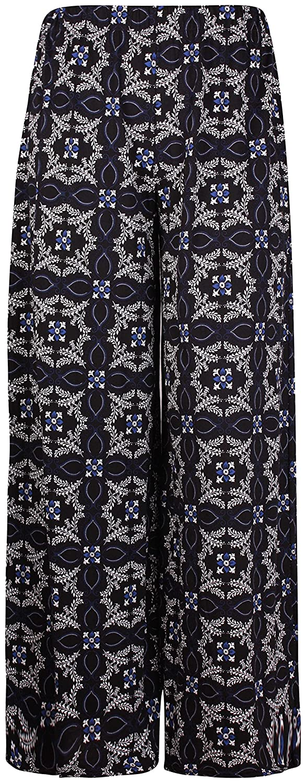 PurpleHanger Women's Plus Size Printed Flare Palazzo Long Pants