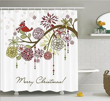 Amazon.com: Merry Christmas Shower Curtain Christmas Bathroom ...