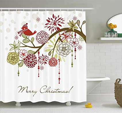 Ambesonne Christmas Shower Curtain Sacred Floral Winter Red Bird Hat And Scarf On Blooming Tree